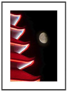 Moon over Pagoda 1 - photograph created by Melissa Fague - Night Photography
