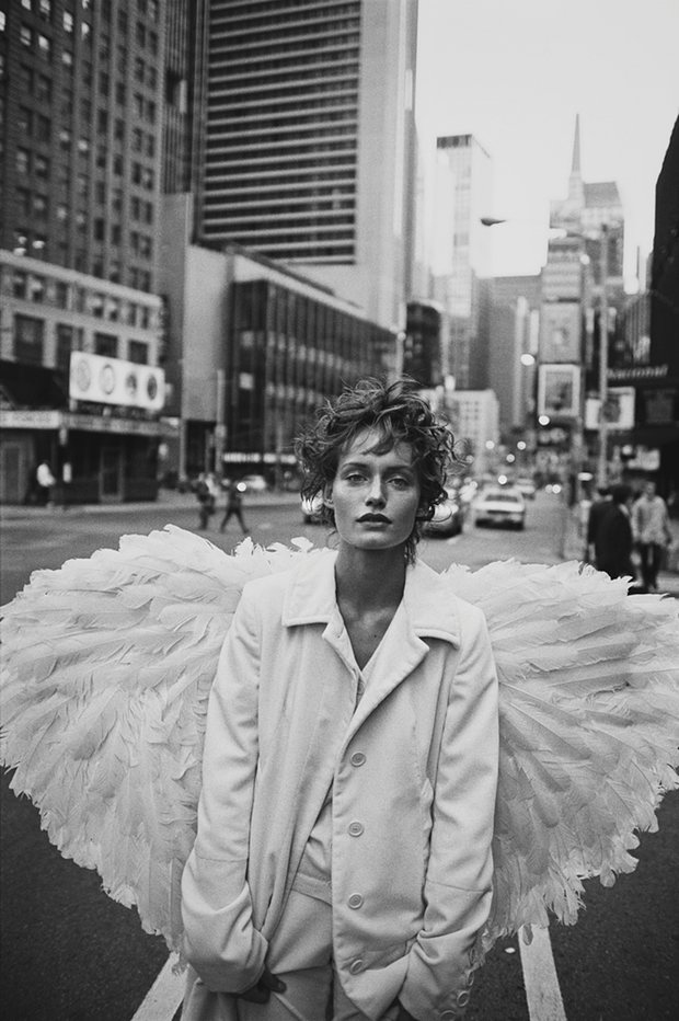 Wing and a prayer: Amber Valletta wearing Helmut Lang, New York, 1993. Photograph: Peter Lindbergh/Courtesy of Peter Lindbergh, Paris/Gagosian Gallery